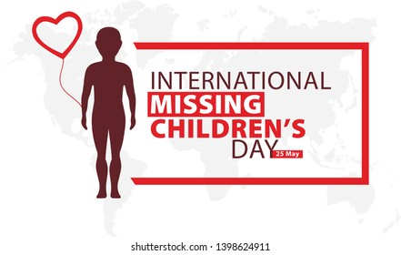 International Missing Children's Day. Boy with balloon. Lost children vector illustration.
