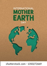 International Mother Earth Day poster illustration of green papercut world map. Recycled paper cutout for planet conservation awareness.
