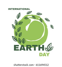 International  Mother Earth Day. Template poster, banner, postcard.Green  leaves. Vector illustration.
