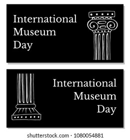International Museum Day. The concept of event. 18 May. Holiday name and two Greek vases. Black background. Flyers for event participants.