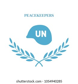 international non-UN peacekeepers day, vector illustration, flat silhouette, blue, white, hard hat, olive branch, text banner, poster, logo, soldiers, nations, united