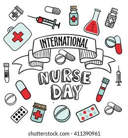 international nurse day card, pharmacy vector elements