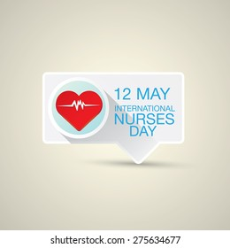 International nurse day concept with illustration of heart with heartbeat.