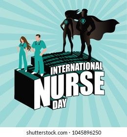 International Nurse Day design with superhero nurses. EPS10 vector illustration.