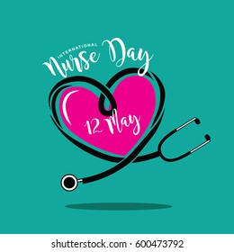 International Nurse Day heart and stethoscope design. EPS 10 vector.