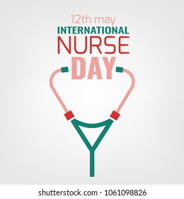 International nurse day logotype. Vector illustration in pink, red and green colors isolated on a white background. Medical and healthcare concept.