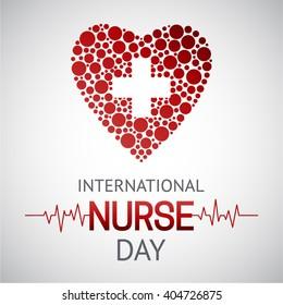 International nurse day template. Medical Vector illustration. Cardiology and medical healthcare.