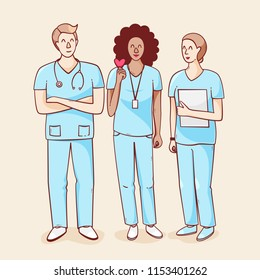 International nurse day, vector illustration with heart