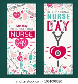 International nurse day vertical banners. Modern vector illustration in pink and blue colors isolated on a dark green background. Medical and healthcare concept.