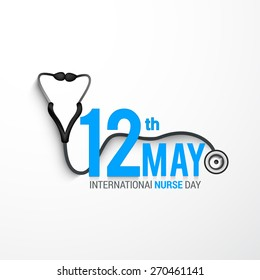 International nurses day illustration with stylish text with stethoscope