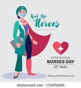 International Nurses Day vector. May 12th International Nurses Day thank you card. Nurse as a super hero character. Thank you doctors and nurses vector.