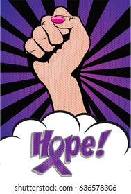 International Overdose Awareness Day .Hope sign  Pop Art Vector Illustration. Abstract purple ribbon hope background for awareness of social issues domestic violence and others.