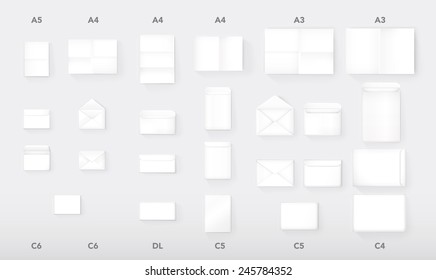 International Paper and Envelope Proportions vector mock up set. Includes:  A5, A4, A3 and C6, DL, C5, C4 dimensions. Realistic Style Isolated Branding Sample Elements Collection.