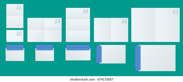 International Paper and Envelope Proportions vector mock up set. Includes: A6, A5, A4, A3 dimensions. Realistic Style Isolated Branding Sample Elements Collection.