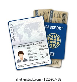 International passport and airline boarding pass ticket. Female passport template with biometric data identification and sample of photo, signature and other personal data. Vector illustration