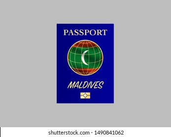 International Passport with biometric digital chip, realistiс dark blue cover isolated on gray background, vector illustration for icon,logo, with national flag and name of country Maldives