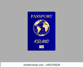 International Passport with biometric digital chip, realistic blue cover, vector illustration for icon, logo, ads with earth world globe silhouette and national flag  of country Iceland