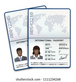 International passport of black men and women with sample of photo, signature and other personal data. Vector illustration