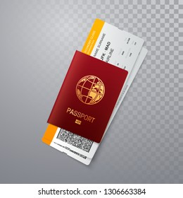 International passport with boarding passes. Vector illustration of identification document with flight tickets isolated on transparent background. Travel or business trip concept