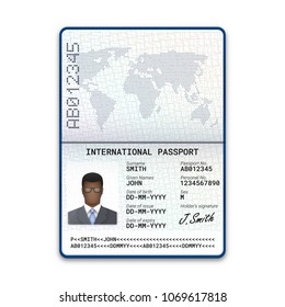 International passport template of the black man with sample of photo, signature and other personal data. Vector illustration