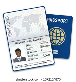 International passport template of the black man with biometric data identification and sample of photo, signature and other personal data. Vector illustration