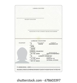 International Passport Vector. Opened Passport Page Blank Template. Identification Document. Business, Tourism Concept.
