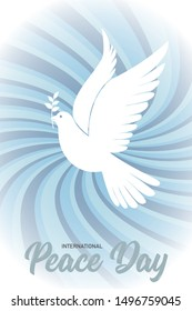 International Peace Day Card, Flayer or Banner. Lettering with dove and olive branch. Vector illustration