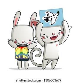 International Peace Day Cartoon Illustration - Vector