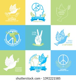 International peace day collection. Set include Dove with olive branch, eath and ather peace day symbol. Vector Illustration