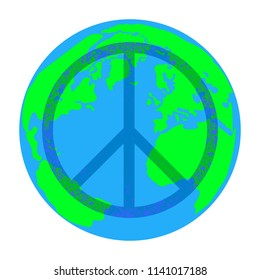 International Peace Day. Concept of a social holiday. A sign of the Pacific. Planet Earth