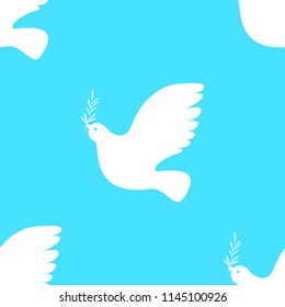 International Peace Day. Concept of a social holiday. White dove with olive branch. Seamless Pattern. Blue background