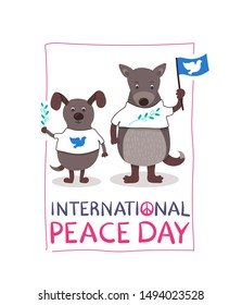 International Peace Day - cute hand drawn card with funny dogs - with blue flag and white pigeon. Olive branch in hand. White T-shirts with peace symbols. Handwritten text. Pink, blue, green colors.