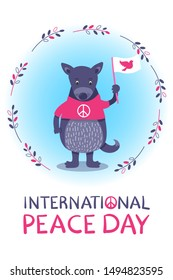 International Peace Day - cute hand drawn card with cartoon purple or violet dog - with white flag and pink pigeon. Olive branch round frame around. Pink T-shirts with peace symbol. Handwritten text.