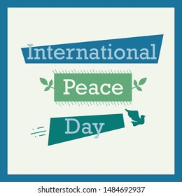 International Peace Day. Peace dove with olive brunch. Love, freedom, faith symbol. 21 September holiday. Peaceful pigeon isolated on sky background. Vector illustration.
