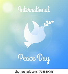 International Peace Day Greeting Card, Poster, Background. Vector Illustration of Dove with Branch of Laurel in Sky.