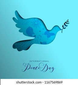 International Peace Day holiday illustration. Paper cut dove bird shape silhouette cutout with nature doodle decoration. EPS10 vector.