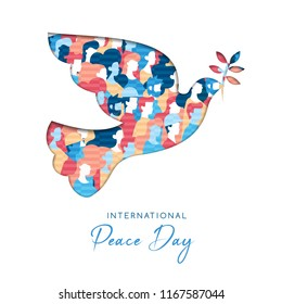 International Peace Day illustration in paper cut style for culture unity around the world. Dove bird cutout with diverse people crowd. EPS10 vector.
