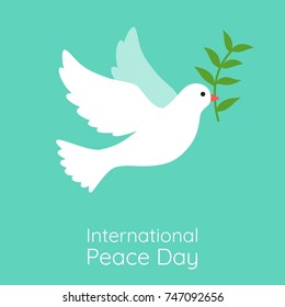 International peace day illustration vector. White dove flying with green olive branch on green background.