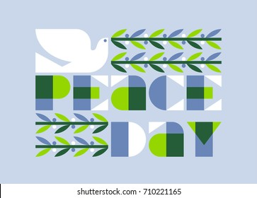 International peace day poster with elegant dove holding olive branch