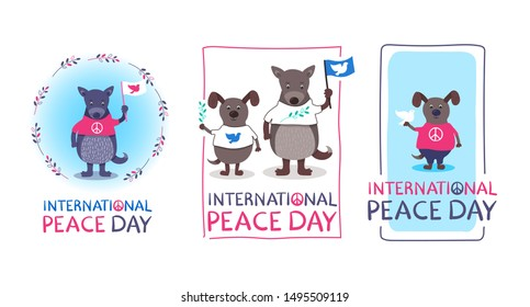 International Peace Day Set - hand drawn cards with funny dogs - with flag, pigeon, olive branch. T-shirts with peace symbols. Handwritten text. Pink, blue, green, white colors. Cute characters