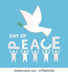 international peace day vector illustration of white dove bird and five people on blue background.