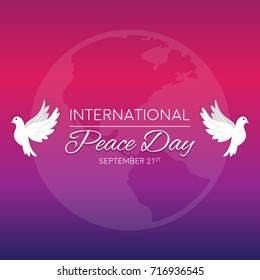 International peace day vector illustration with dove and creative design elements for banners, posters and backgrounds.