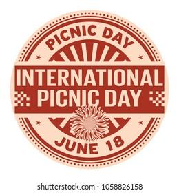 International Picnic Day,  June 18, rubber stamp, vector Illustration