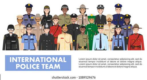 International police people concept. Detailed illustration of SWAT officer, policeman, policewoman and sheriff in flat style on white background. Vector illustration.