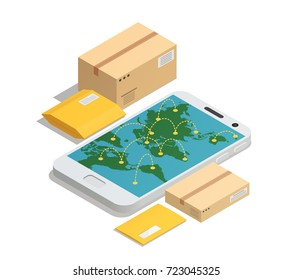 International postal mail delivery service isometric composition with smartphone screen destination map and parcels letters packages vector illustration