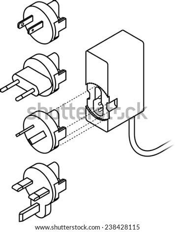 International Power Supply Transformer Interchangeable Plugs Stock