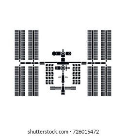 International Space Station detailed silhouette on white background. Isolated vector illustration.