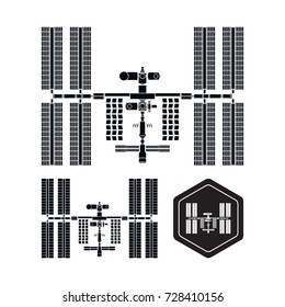 International Space Station silhouette set on white background. Detailed and simplified version. Vector illustration isolated on white background.
