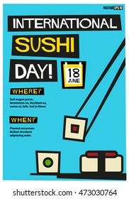 International Sushi Day 18 June (Flat Style Vector Illustration Quote Poster Design) Event Invitation Design