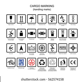 International symbols for marking of packing cargo in vector